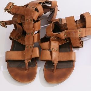 JOIE Brown Leather Gladiator Strap Flats Sandals